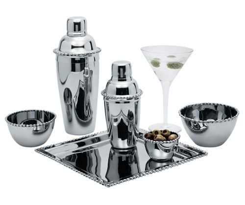 13.Molten Martini Shakers $295, Nut Dish, $264, and Cocktail Tray, $744, by Michael Aram, from Cavit & Co.