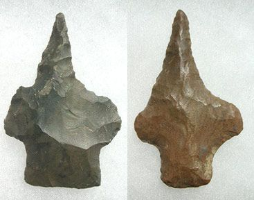 "Here we have a ""classic"" example of the Ancient Native Americans' ingenuity in . reworking old, worn-out or damaged artifacts to suit a totally different purpose from which they were first intended. These two relics were originally arrowheads, but were re-shaped into drills, most likely recovered after a successful hunt during which, the tips of the arrowheads were damaged.. An excellent example of Native Amerinds' ""Recycling"""