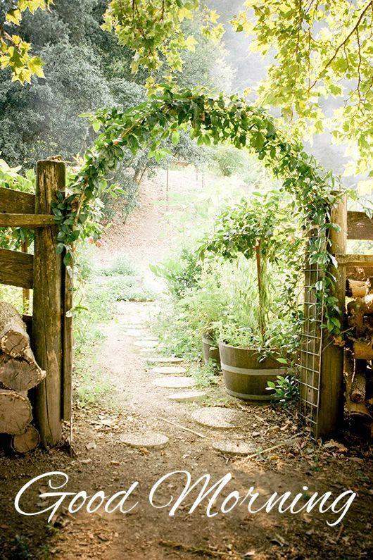 Good Morning Card for Media Garden door