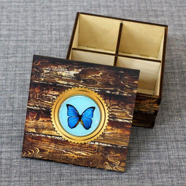 """Шкатулка из дерева со смолой """"Бабочка"""" - Сувенирные изделия из бересты"""