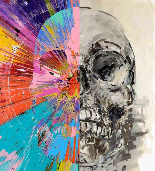 2headedsnake:  'Skull' Damien Hirst vs. Philippe Pasqua Galerie Laurent Strouk, Paris, France