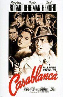 Casablanca, 1942, Humphrey Bogart, Ingrid Bergman, Paul Henreid, Claude Rains, Conrad Veidt, Sydney Greenstreet, Peter Lorre, S.Z. Sakall, Dooley Wilson.  Great cast.  Went to see the movie at the theater tonight-anniversary showing.  Wonderful evening.