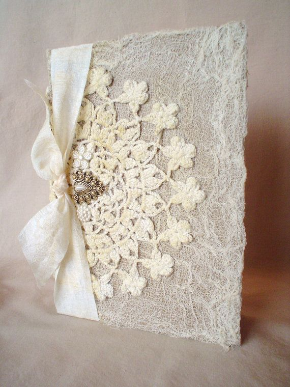 Altered Vintage Lace Doily Shabby Buttons Journal Diary Notebook