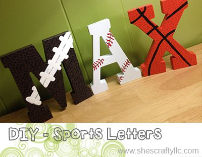 {DIY} Sports Themed Letters @ She's Crafty Blog - Great gift for sports fans, see how to make one or where to buy one here.