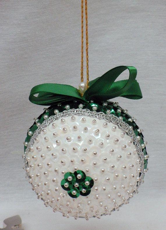 Vintage handmade beaded styrofoam ornament white by EmzTreasurz, $9.00