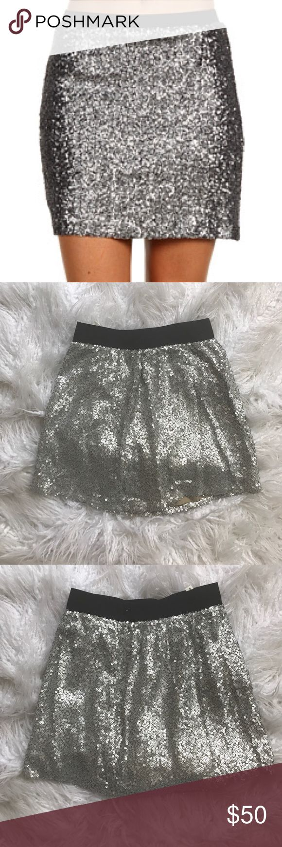 Robbi & Nikki Sequin Mini Skirt Beautiful Robbi & Nikki sequin mini skirt in like new condition! The sequins on this skirt are MATTE silver so it gives off a chic high end look. FEEL FREE TO MAKE ME AN OFFER! Robbi & Nikki Skirts Mini