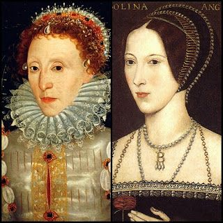 Elizabeth I and her mother, Anne Boleyn (on the right).