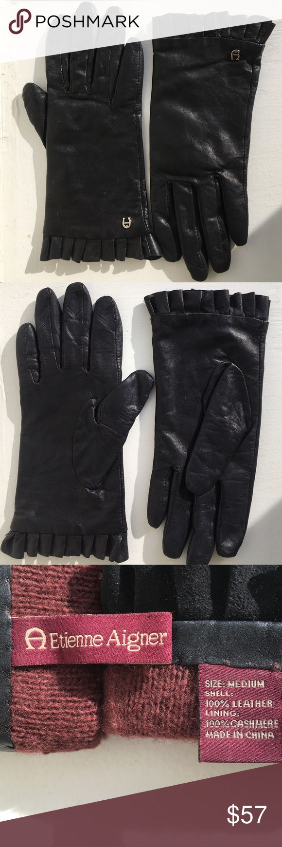 Etienne aigner black leather gloves - Beautiful Etienne Aigner Cashmere Leather Gloves Etienne Aigner Cashmere Leather Gloves Size Medium