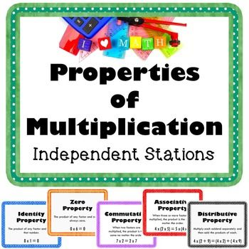 Properties of Multiplication Math Workshop - Includes 24 task cards, vocabulary…