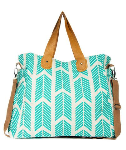 Teal Arrows Weekender Tote Bag - Works great as a diaper bag, overnight bag, the gym, or any time you need a large tote!