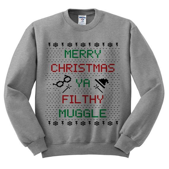 Grey Crewneck Merry Christmas Ya Filthy by TeesAndTankYouShop