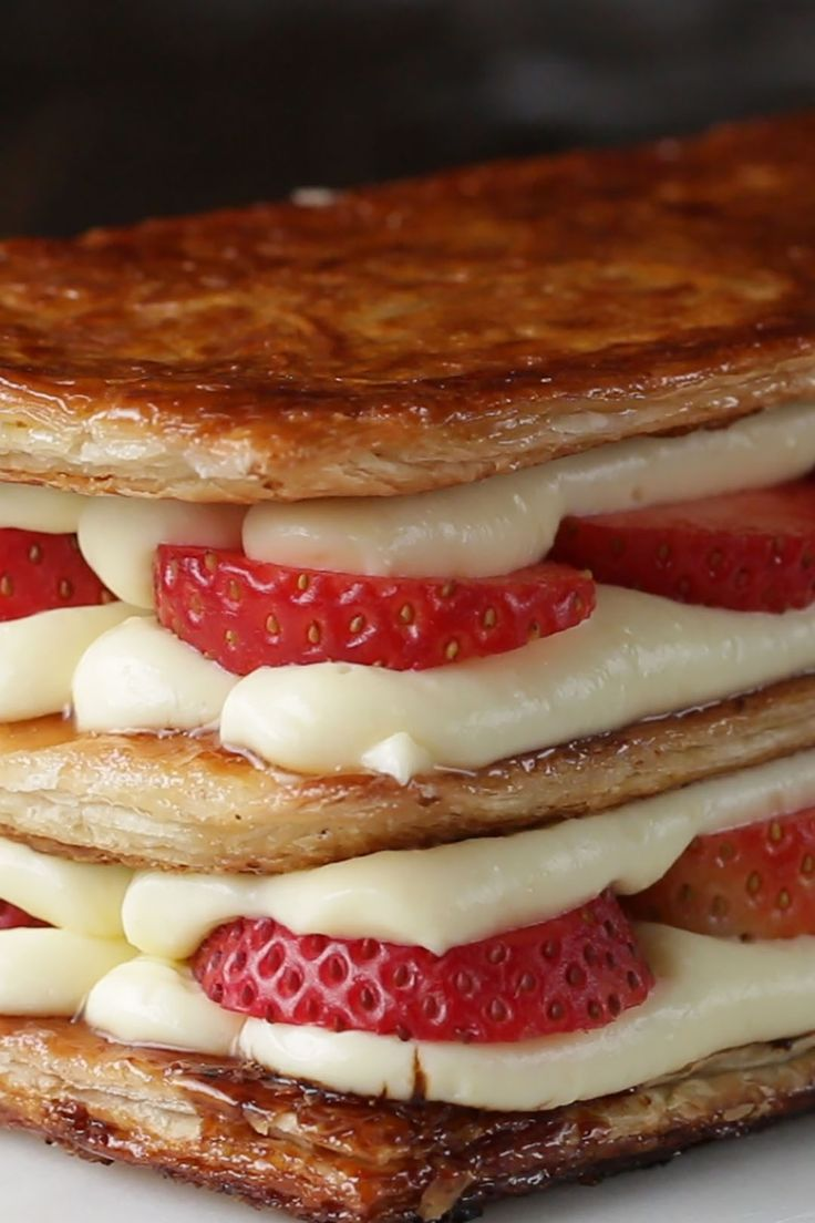 Layered Strawberry Cream Puff Cake (Mille-Feuille) Recipe by Tasty