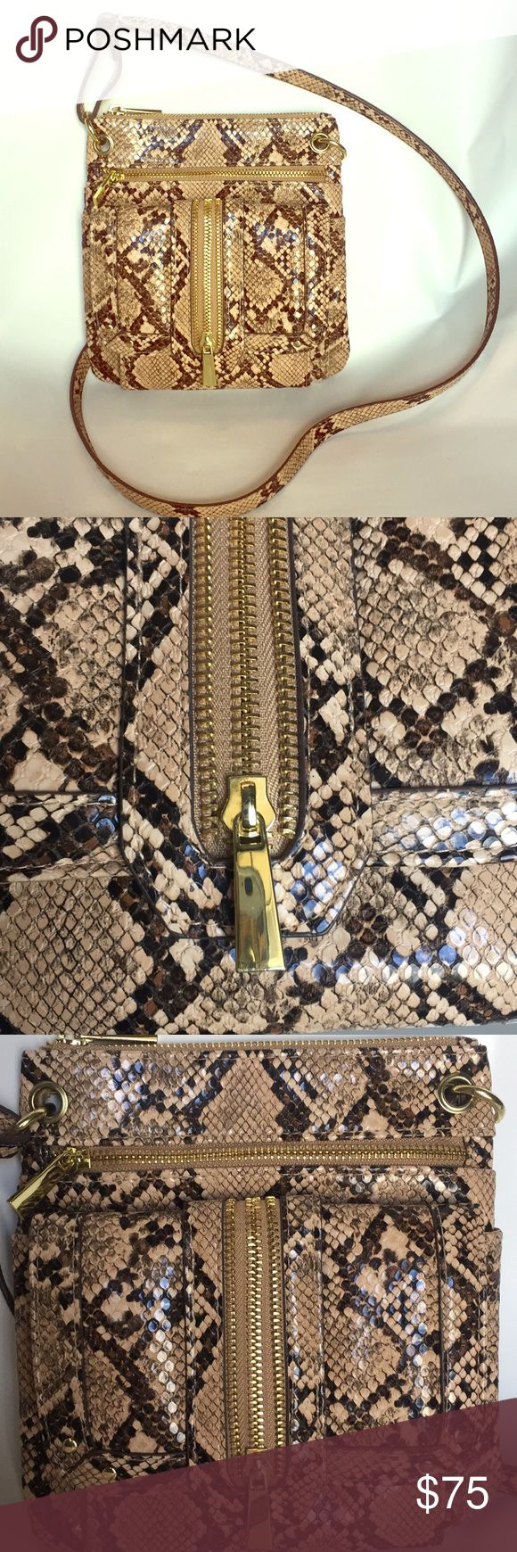 Python print cross body bag with gold hardware Python print cross body bag with beautiful gold hardware and accents.  One zipper pocket on back.  One zipper pocket inside.  One main zipper on top.  Two zipper pockets on front.  Two pockets under magnetic folding flap. New without tags.  Never used so there is no wear and there are no flaws. Bags Crossbody Bags