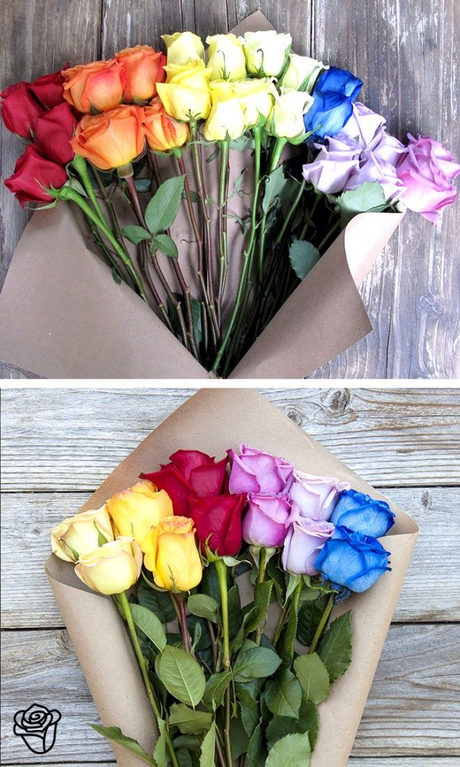Love this rainbow flower arrangement!