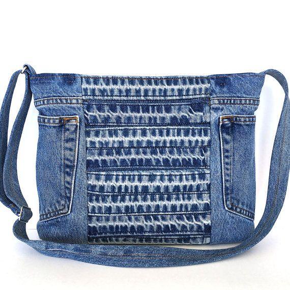 Recycled crossbody bag Blue denim side purse by Sisoibags on Etsy