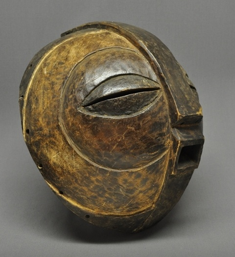 Africa | Large, carved wood, bowl shaped mask from the Luba people of the DR Congo.