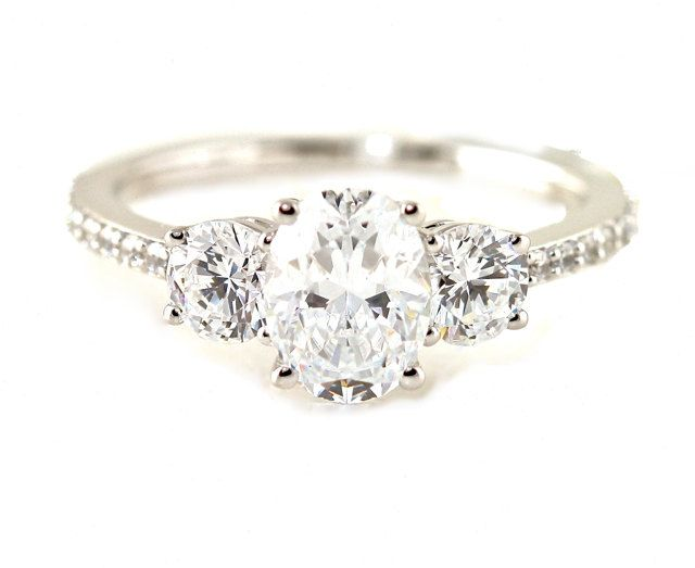 Oval White Sapphire Engagement Ring 14K 3 Stone Diamond Sapphire Ring Custom Bridal Jewelry. via Etsy.