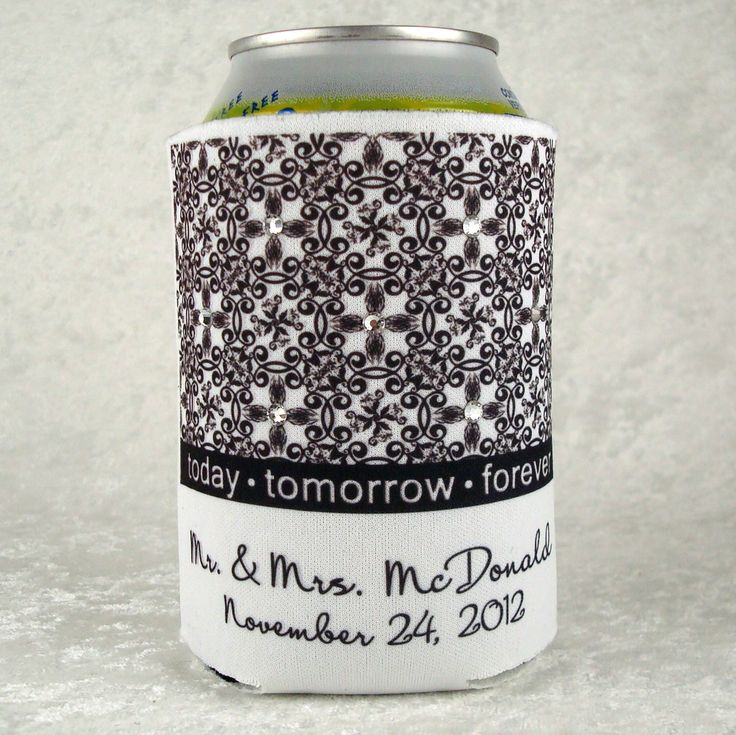 Our new Kaleidoscope personalized koozie with the wedding couple's name and date will be a memorable favor for those lucky enough to be attending this special event!  We embellish each koozie with seven sparkling Preciosa Czech crystals, each hand applied.  Offered in two colors - white or khaki
