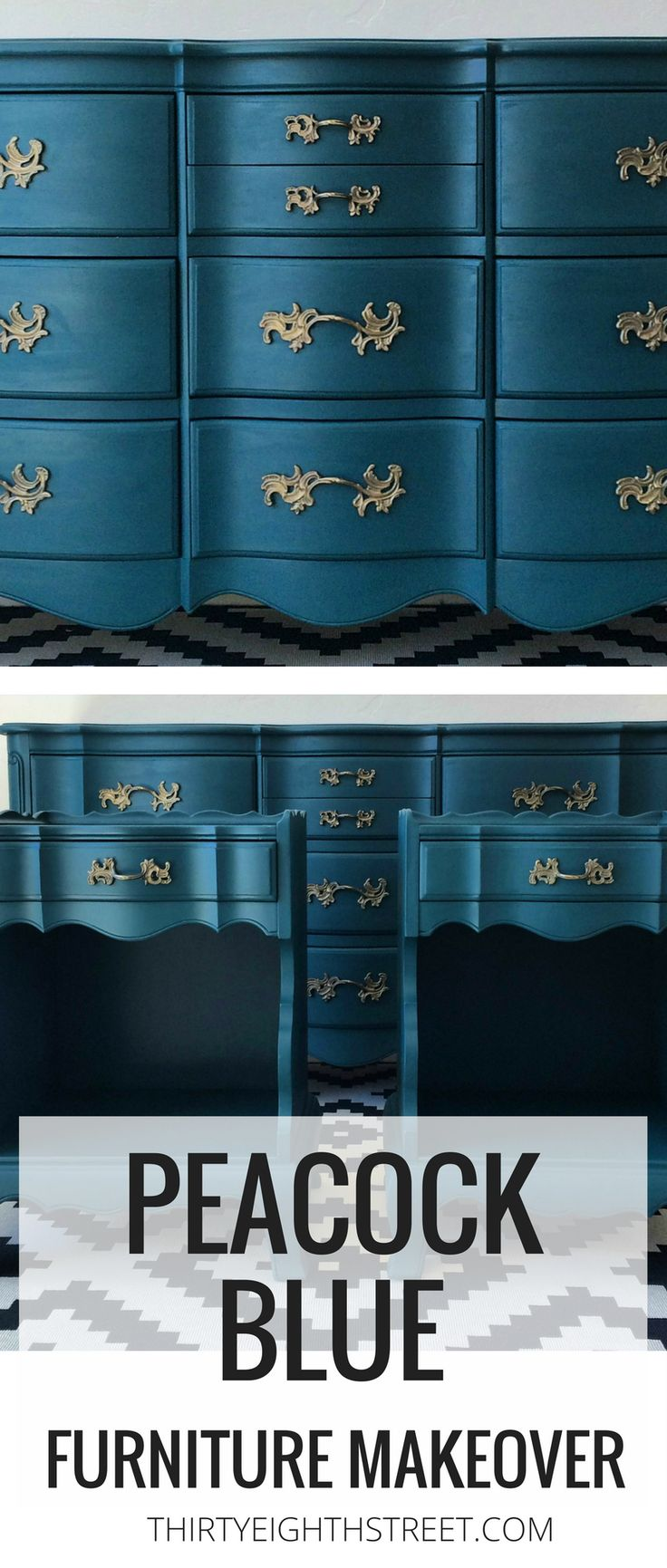 Blue Painted Furniture Ideas! Peacock Blue Chalk Painted Bedroom Furniture. Furniture Makeover Before And Afters. DIY Furniture Tutorials and Painted Furniture Inspiration! #peacock #bluefurniture #bedroomfurniture #paintedfurniture