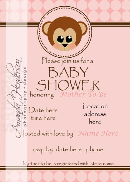 13 best monkey baby shower invitations images on pinterest monkey pink monkey baby shower invite filmwisefo