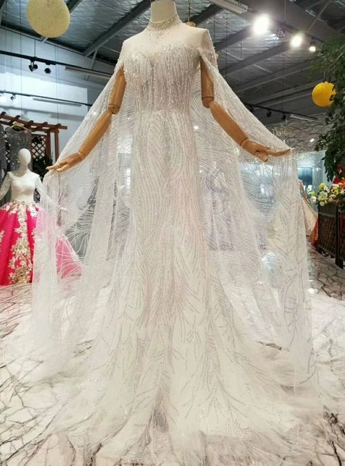 Ivory White Tulle Sequins Sheath High Neck Backless Beading Wedding Dress With Train