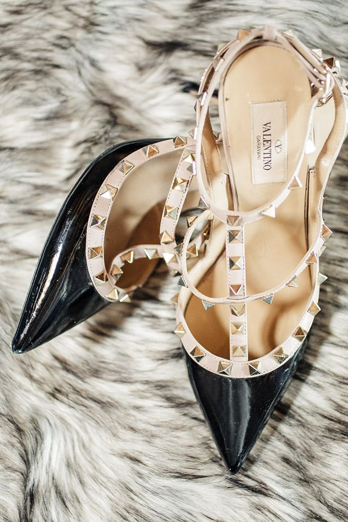 Black and Nude Valentino Rockstud Heels  https://heyweddinglady.com/industrial-chic-warehouse-wedding-modern-edge/    #wedding #weddings #weddingideas #industrial #modernwedding #lawedding #heels #weddingaccessories