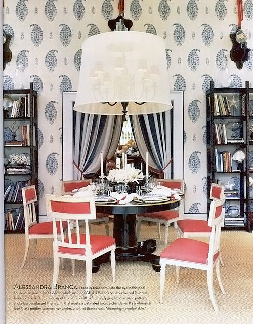 love the big chandelier shade & paisley walls