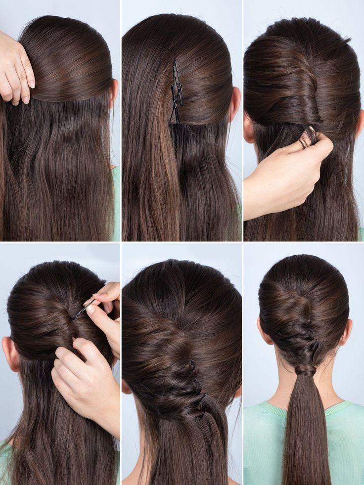 Weiter geht's mit der Ponytail Tolle: Steckt auf der Höhe der Schläfe eine Seite am Hinterkopf fest. Anschließend wird die andere Seite zur Tolle eingedreht und mit vielen Bobby Pins festgesteckt. Zum Schluss wird das restliche Haar zu einem Ponytail gebunden und das Haargummi mit einer Haarsträhne verdeckt. Gefällt's euch?Seht hier tolle Retro-Frisuren zum Nachstylen
