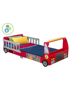 KidKraft Fire Truck Junior Toddler Bed available with three mattress options