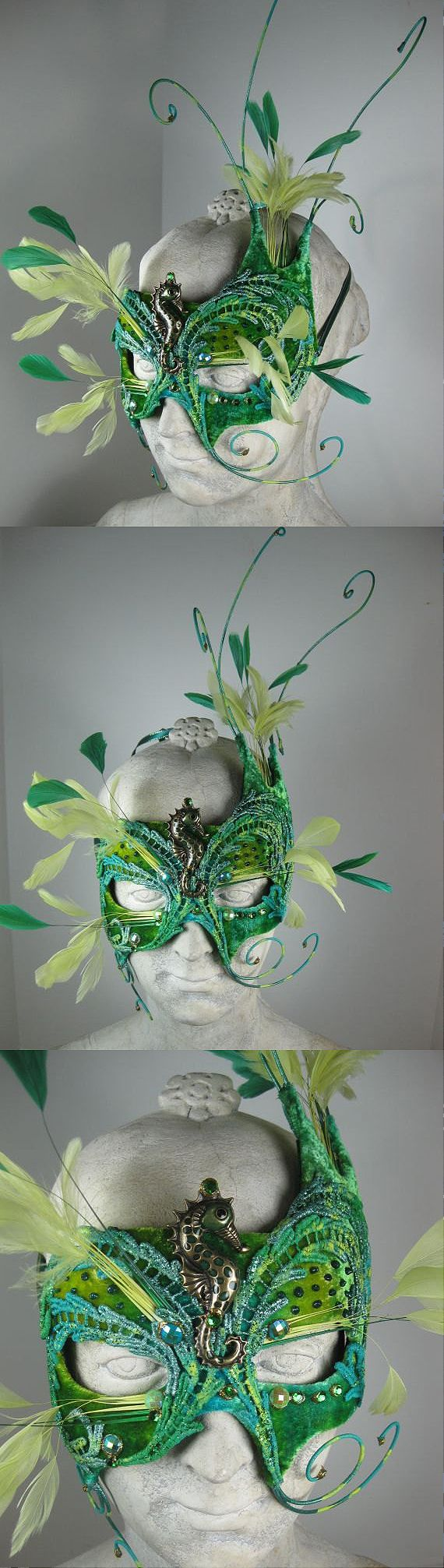 This mask is a limited edition piece. It is covered with hand dyed silk velvet and then decorated with feathers, lace, seahorse centerpiece and rhinestones. It is lined with soft felt for comfort. Fun, unusual headpiece / mask for Mardi Gras Carnival celebrations costume ideas. #mardigras #masquerade #masquerademask #headdress #mardigrasideas #affiliatelink #fashion #carnival #burningmanfestival #halloween