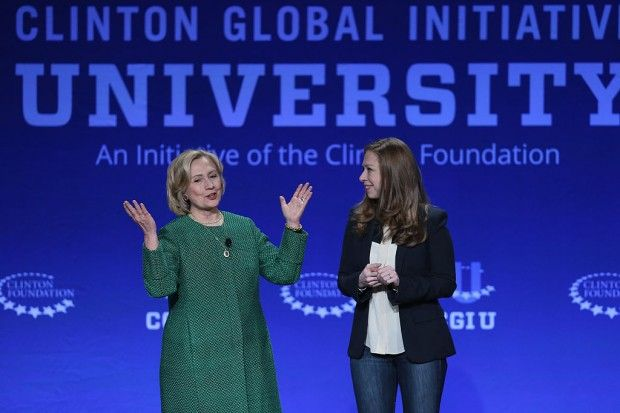 Hillary Clinton, and her daughter Chelsea Clinton, Vice Chair, Clinton Foundation address the 2015 Meeting of Clinton Global Initiative University at the University of Miami on March 7, 2015 in Coral Gables, Florida. (Joe Raedle/Getty Images)