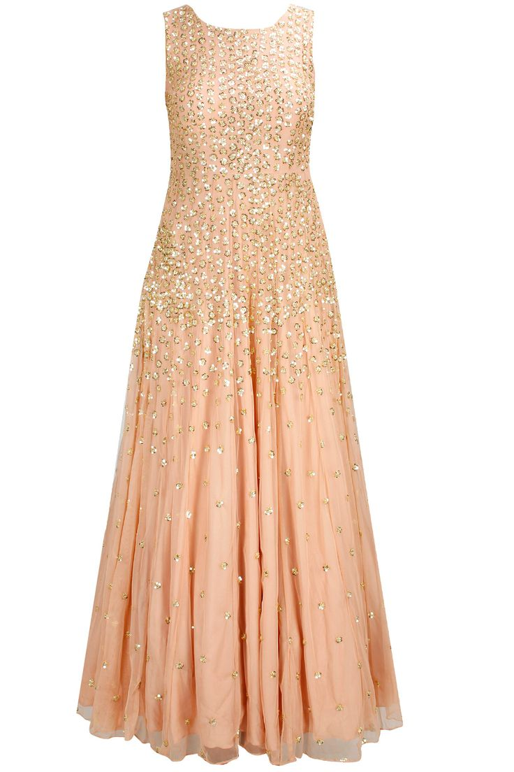 Peach sequins embellished gown available only at Pernia's Pop-Up Shop.