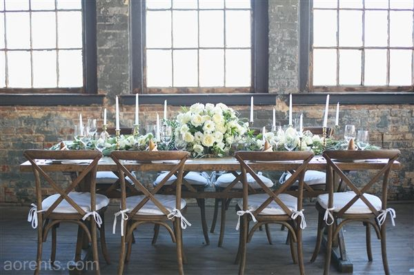 Beautiful vineyard table and chairs create a simple, rustic and elegant tablescape  All Occasions Event Rental - Cincinnati, Ohio