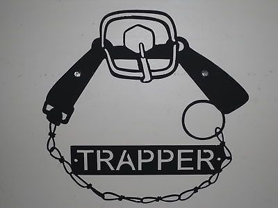 Vintage Traps 71143: Trapper Sign Metal Raccoon Fox Muskrat Trap BUY IT NOW ONLY: $36.0