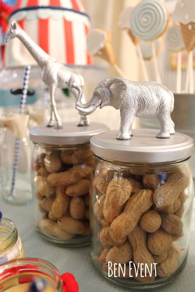 Silver painted favor jars at a vintage circus birthday party! See more party ideas at CatchMyParty.com!