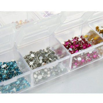3000 Nail Art Gems Mixed Colours Shapes in Case (Size 2mm): Amazon.co.uk: Beauty