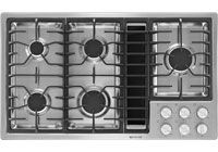 JX3 Downdraft Ventilation System With 3-Speed Fan/ Convertible To Duct-Free Ventilation/ 17,000 BTU Ultra-High Output Burner/ Electronic Ignition And Flame-Sensing Re-Ignition/ Five Sealed Burners/ 425 CFM/ Easy-To-Clean Short Plenum/ Dishwasher-Safe Air Grill, Burner Grates And Caps/ Infinite Burner Control Settings/ Porcelain-On-Cast-Iron Continuous Grates/ Porcelain-Enamel/Stainless Steel Surface/ Stainless Steel Finish