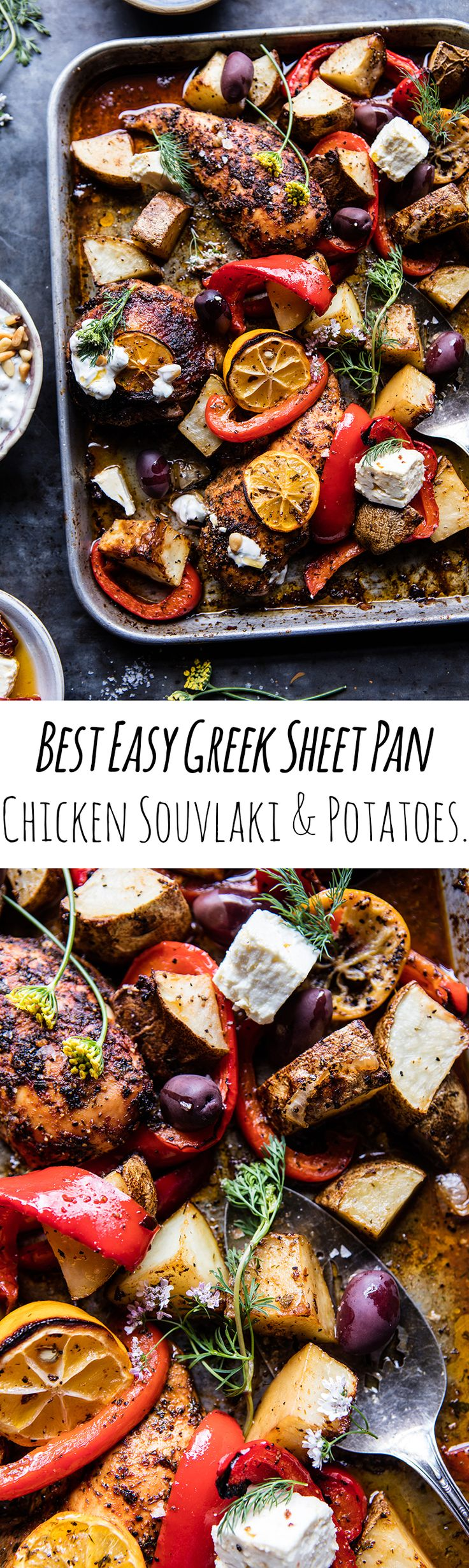 Best Easy Greek Sheet Pan Chicken Souvlaki and Potatoes | halfbakedharvest.com @hbharvest