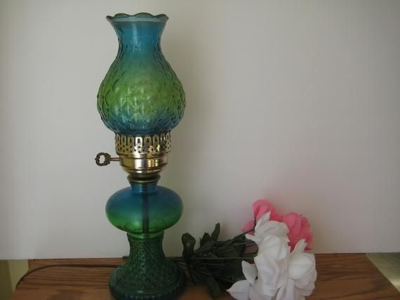 Vintage Electric Hurricane Style Teal Blue Green Glass Lamp Vintage Table Lamp Glass Lamp Green Glass