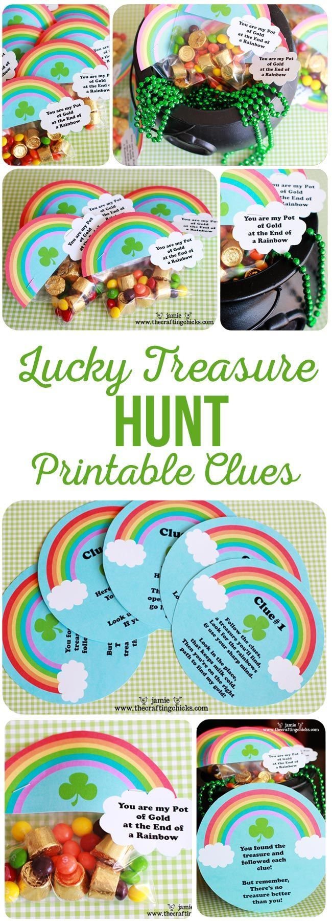 St. Patrick's Day Lucky Treasure Hunt & Treat Toppers. Printable clues for a Lucky Treasure Hunt. Fun for St. Patrick's Day! via @craftingchicks
