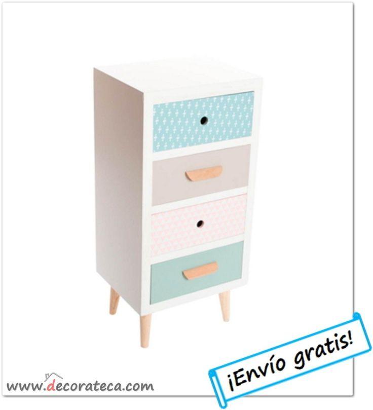 """Cajonera nórdica con 4 cajones """"Lätt"""". Muebles decoración escandinava en colores pastel - WWW.DECORATECA.COM"""