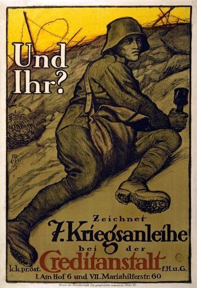 Vintage Austrian World War 1 Propaganda Poster Und Ihr?