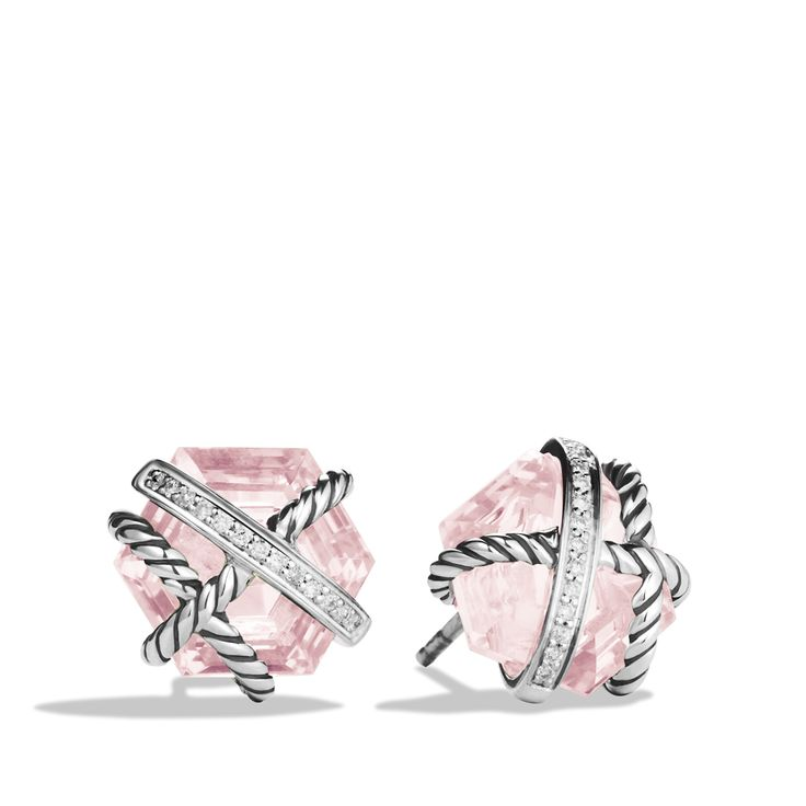 From Davidyurman Cable Wrap Earrings With Rose Quartz And Diamonds