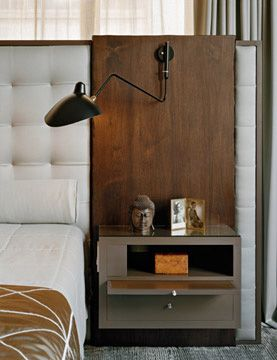 great bedside table solution - Hotel design too