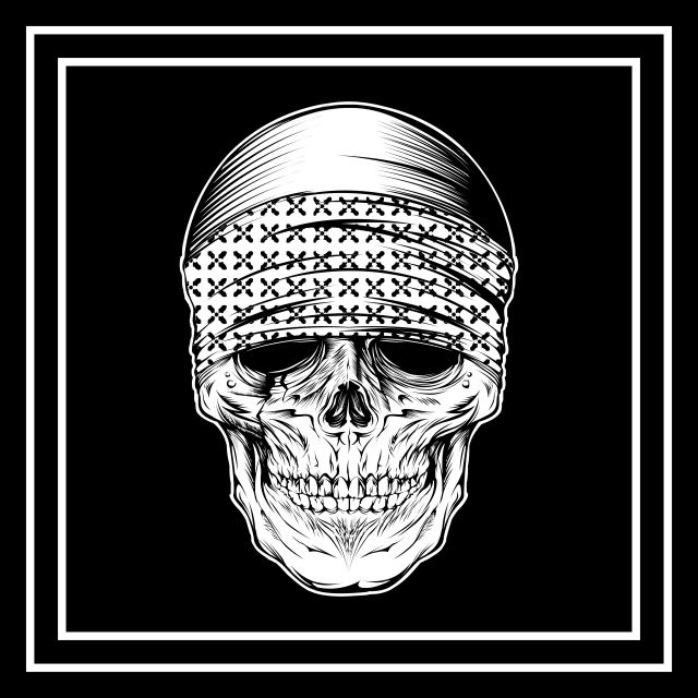 Skull Wearing Bandana Hand Drawing Vector Background Bearded Black Png And Vector With Transparent Background For Free Download How To Draw Hands Drawings Skull