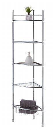 Best Living Adjustable 5 Tier Bathroom Corner Shelf   Chrome By Best Living  Inc.