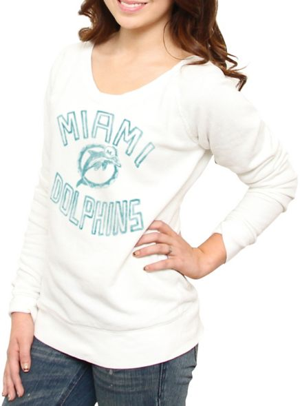 NFL Miami Dolphins Vintage Off the Shoulder Fleece - Women's Collections - NFL - Miami Dolphins - Junk Food Clothing