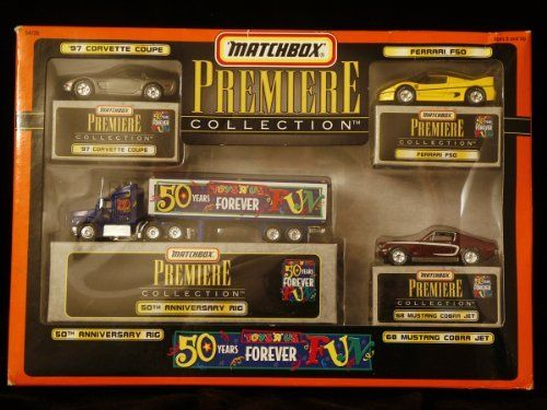 Matchbox Premiere Collection - Limited Edition Set of Four Toys R Us Die-Cast Vehicles - 1997 Corvette Coupe - Ferrari F50 - 1968 Mustang Cobra Jet - 50th Anniversary Rig by Matel, Inc.. $29.95. Copyright 1998 Matel, Inc.. Authentic detailed paint job and decals. Body and Chassis of Heavyweight Die-Cast Metal. Authentic detailed plastic parts.. Matchbox Premiere Collection - Limited Edition Set of Four Die-Cast Vehicles  MATCHBOX commemorates international street sc...
