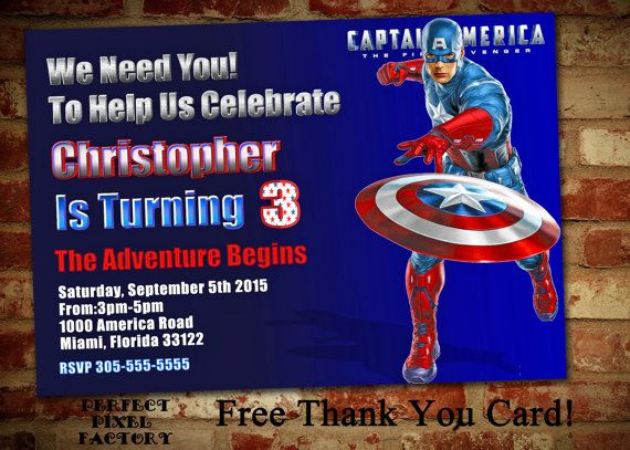 CAPTAIN AMERICA BIRTHDAY Invitation by PerfectPixelFactory on Etsy
