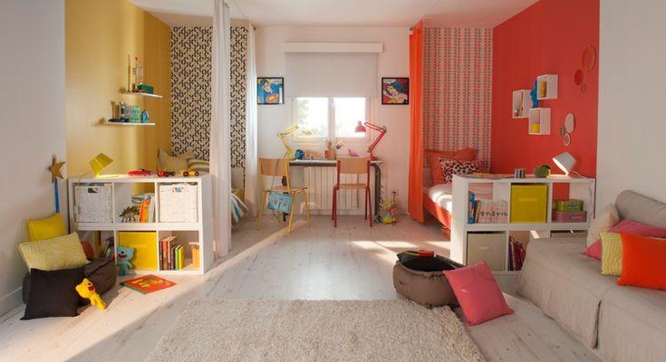 grande chambre enfants jaune rouge blanc